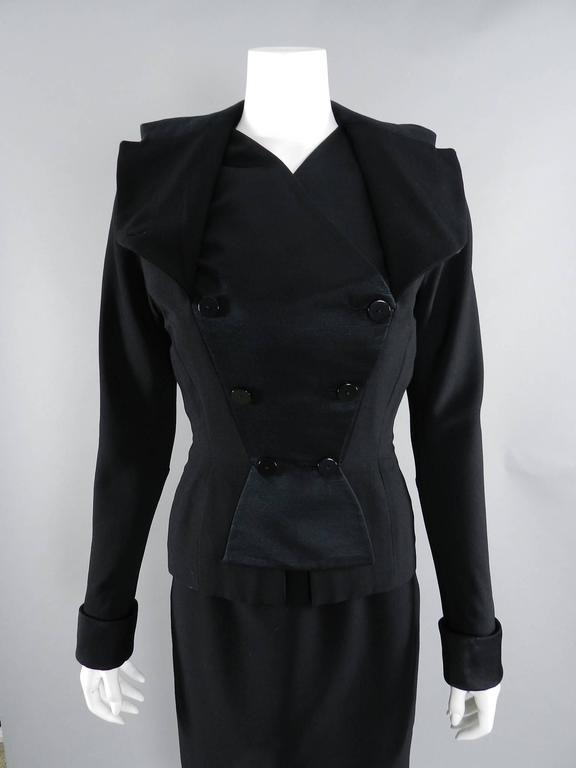 Pierre Balmain 1950's Black Silk Satin and Wool Skirt Suit For Sale 4