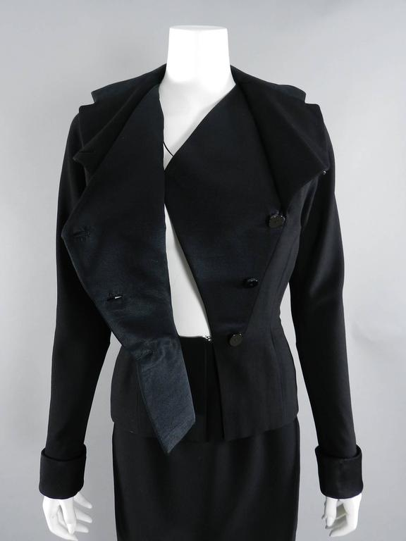 Pierre Balmain 1950's Black Silk Satin and Wool Skirt Suit For Sale 5