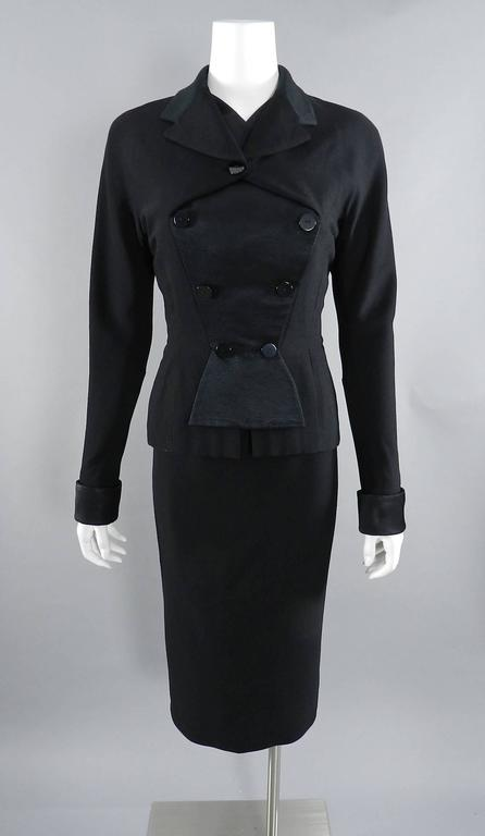 Pierre Balmain 1950's Black Silk Satin and Wool Skirt Suit For Sale 6