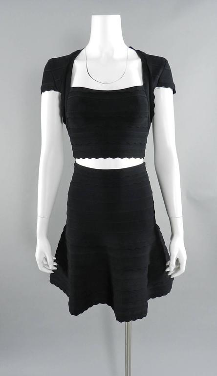 Black Herve Leger 2pc Crop Bodycon Fit and Flare Skirt and Top For Sale