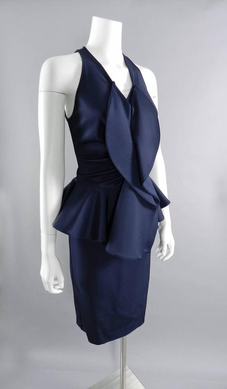 Givenchy Navy Stretch Dress with Ruffle Peplum 3