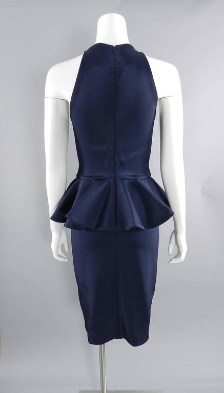 Givenchy Navy Stretch Dress with Ruffle Peplum 4
