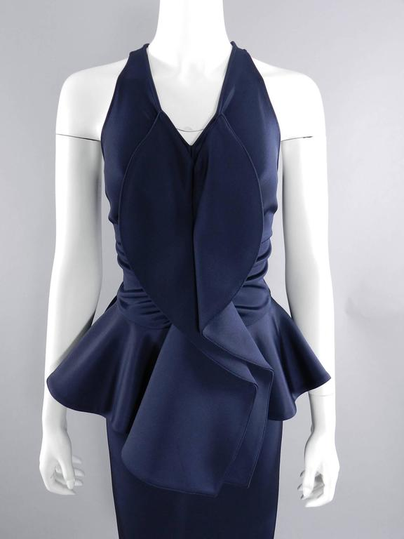 Givenchy Navy Stretch Dress with Ruffle Peplum 5