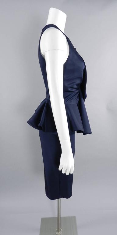 Givenchy Navy Stretch Dress with Ruffle Peplum 6