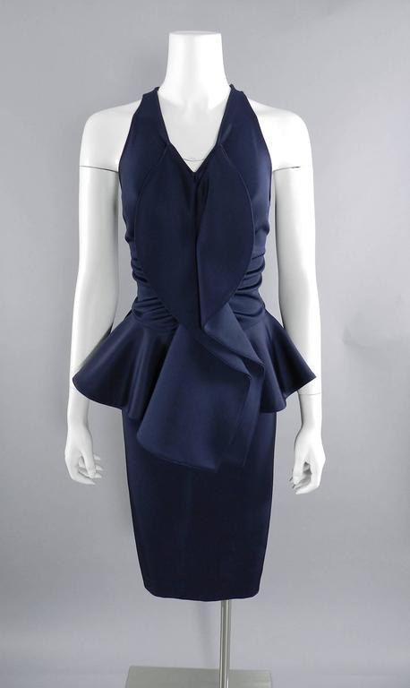 Givenchy Navy Stretch Dress with Ruffle Peplum For Sale 4