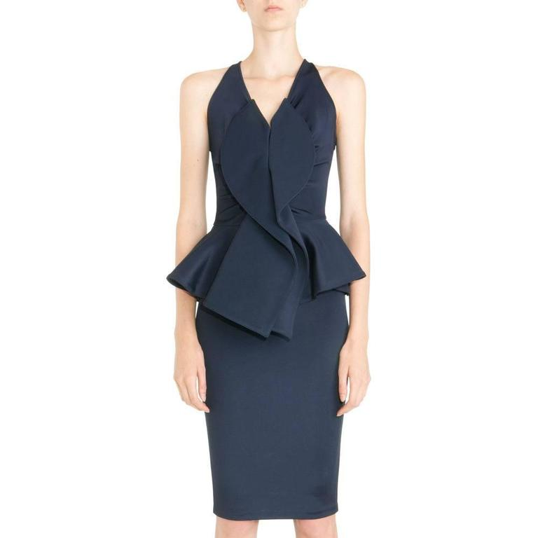 Givenchy Navy Stretch Dress with Ruffle Peplum 10