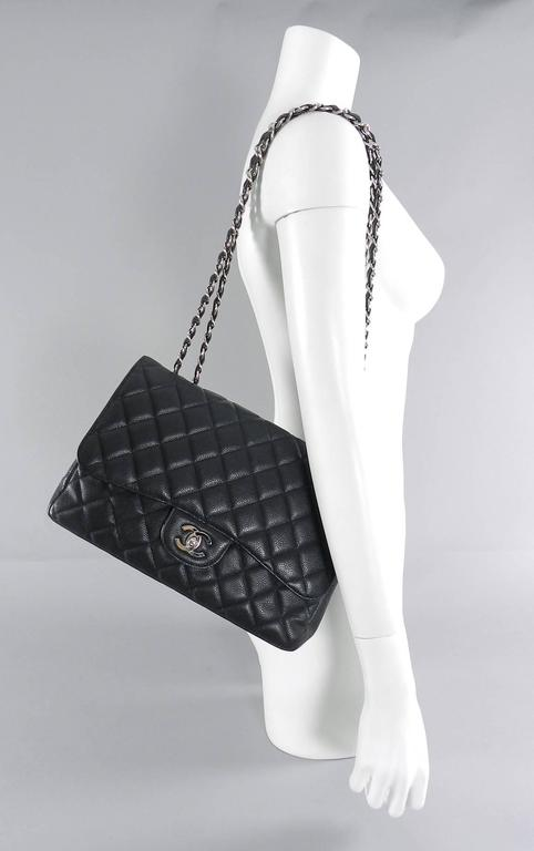 9f0661555bc707 Chanel Caviar leather single flap Jumbo Classic Flap Bag with silver  hardware. Date code 12