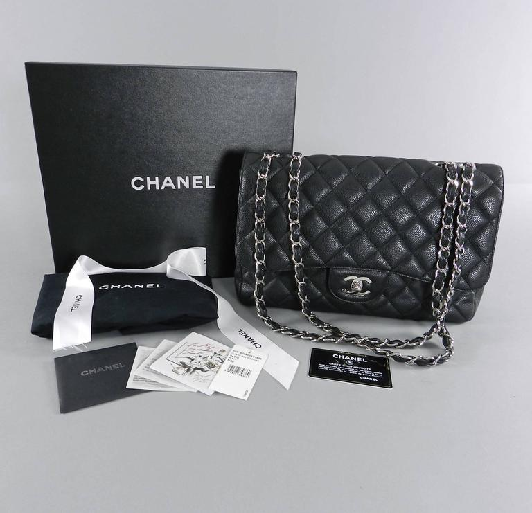 Black Chanel Caviar Single Flap Jumbo Classic Bag With Silver Hardware For