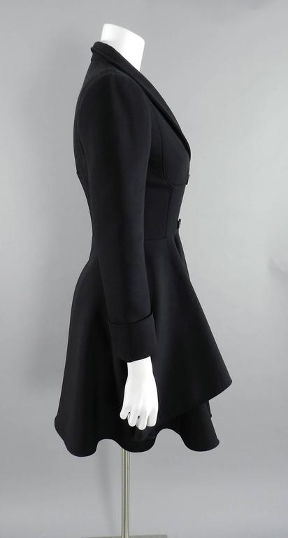 Alexander McQueen Black Scuba Coat with Asymetrical Ruffle In Excellent Condition For Sale In Toronto, ON
