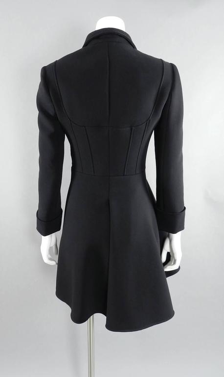 Women's Alexander McQueen Black Scuba Coat with Asymetrical Ruffle For Sale