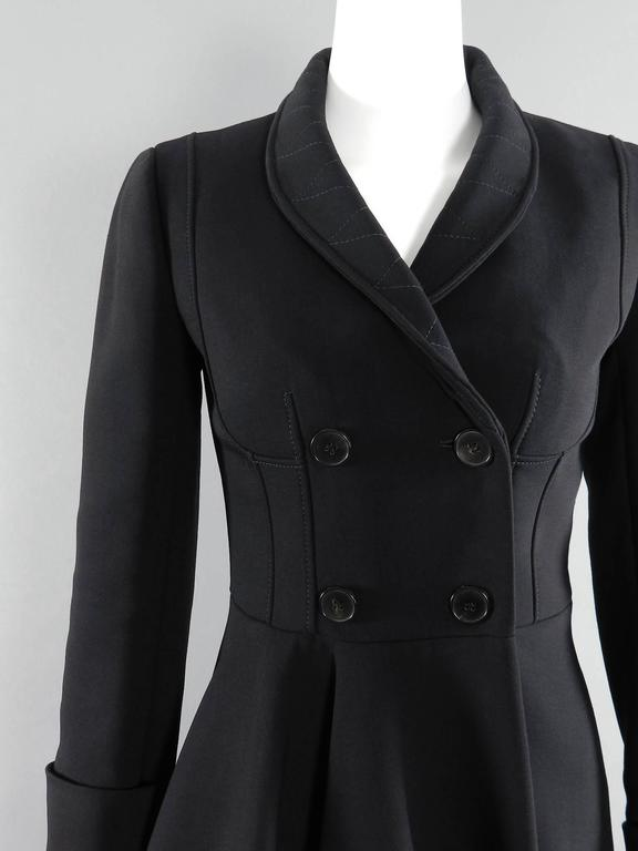 Alexander McQueen Black Scuba Coat with Asymetrical Ruffle For Sale 1