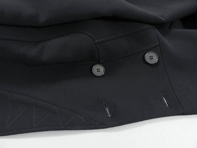 Alexander McQueen Black Scuba Coat with Asymetrical Ruffle For Sale 2
