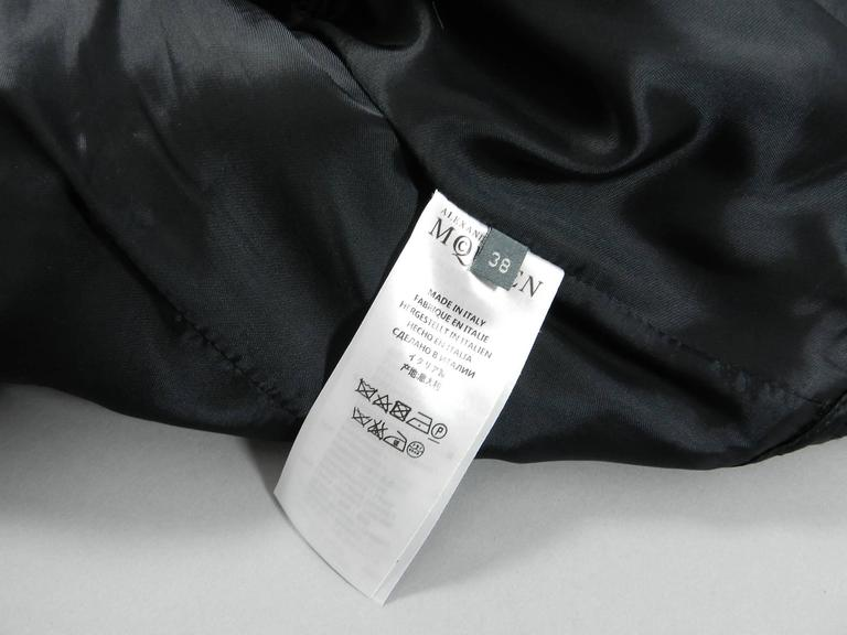 Alexander McQueen Black Scuba Coat with Asymetrical Ruffle For Sale 3