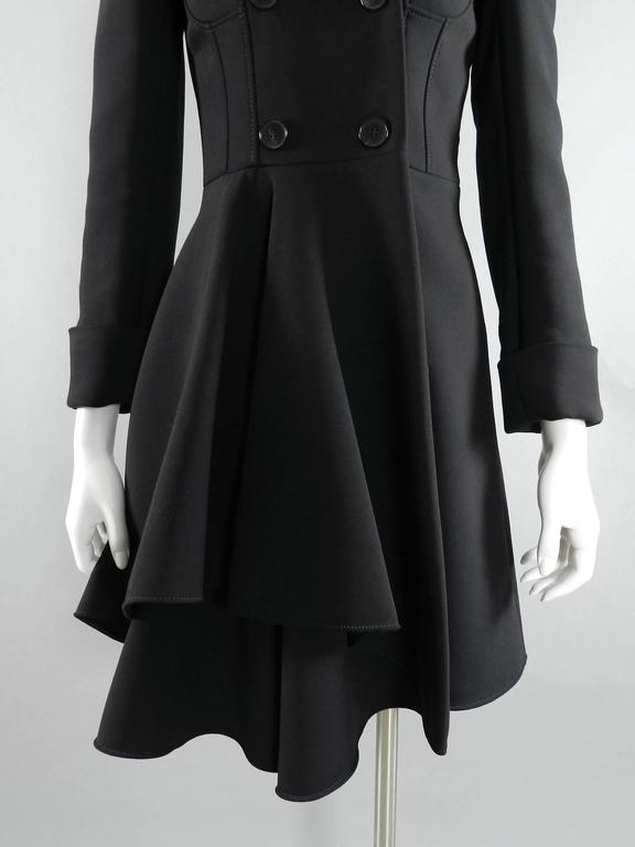 Alexander McQueen Black Scuba Coat with Asymetrical Ruffle For Sale 5