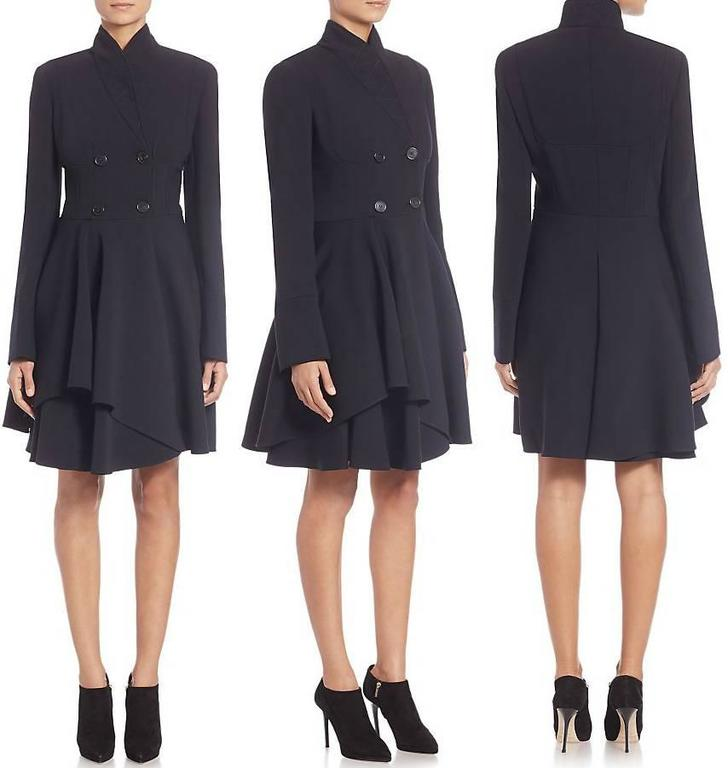 Alexander McQueen Black Scuba Coat with Asymetrical Ruffle For Sale 6