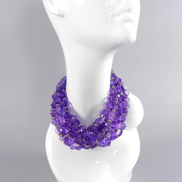 Christian DIOR purple 10 strand beaded Choker Necklace 2