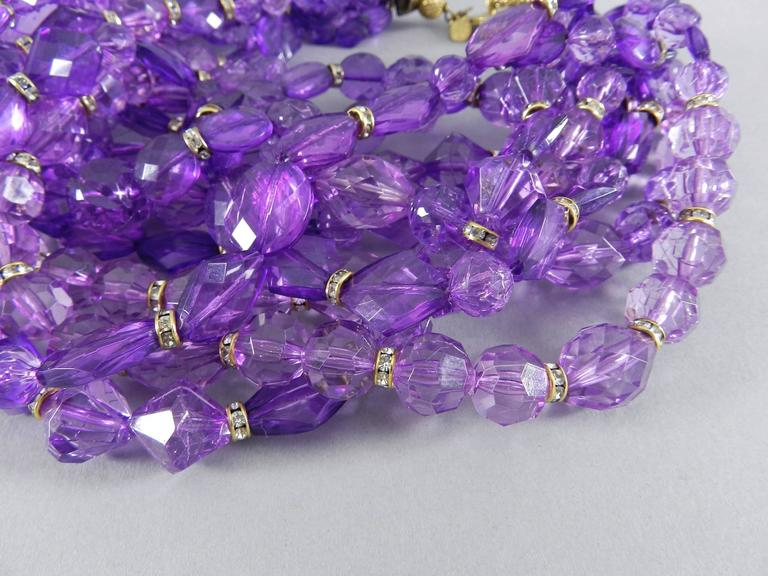 Christian DIOR purple 10 strand beaded Choker Necklace 3