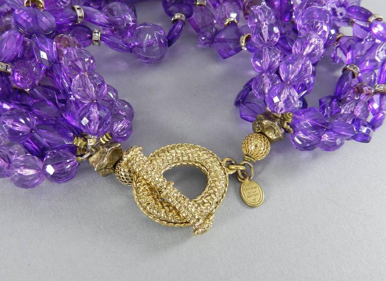 Christian DIOR purple 10 strand beaded Choker Necklace 4