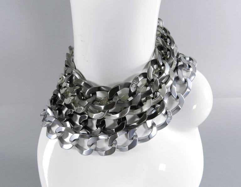 Chanel 13a Chunky Silver Chain Runway Choker Necklace At