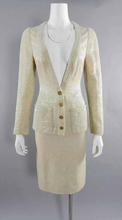 Chanel Spring 1999 Haute Couture Runway Shimmer Suit 3