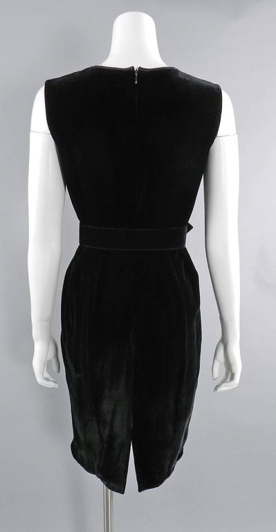 Valentino Black Velvet Cocktail Dress with Lace and Jewels For Sale 1