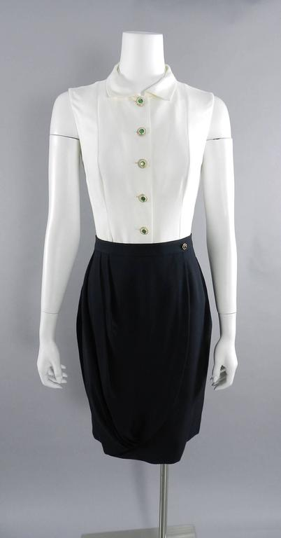 Chanel Black Suit with Silk Blouse and Green Jewelled Buttons 2