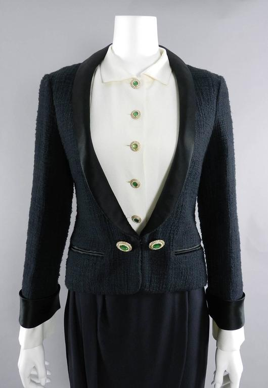 Chanel Black Suit with Silk Blouse and Green Jewelled Buttons 3