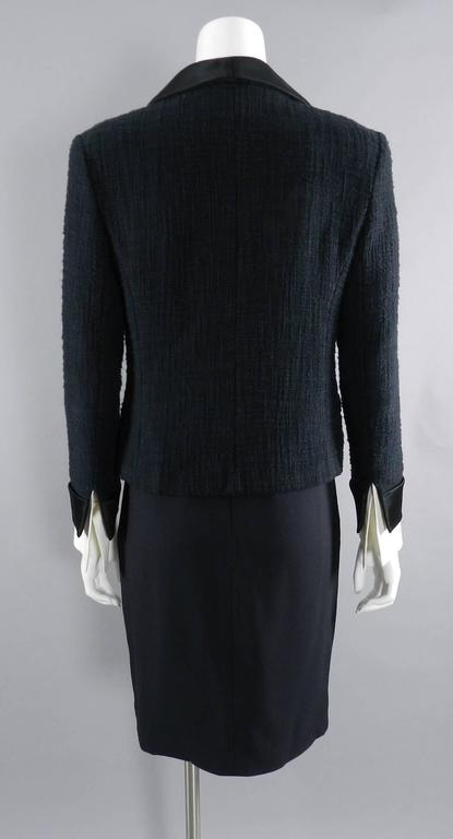 Chanel Black Suit with Silk Blouse and Green Jewelled Buttons 4