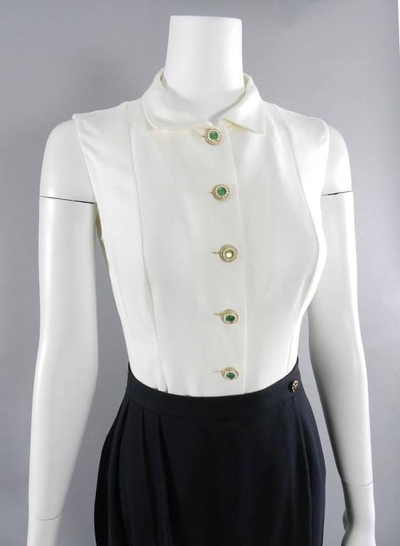 Chanel Black Suit with Silk Blouse and Green Jewelled Buttons 8