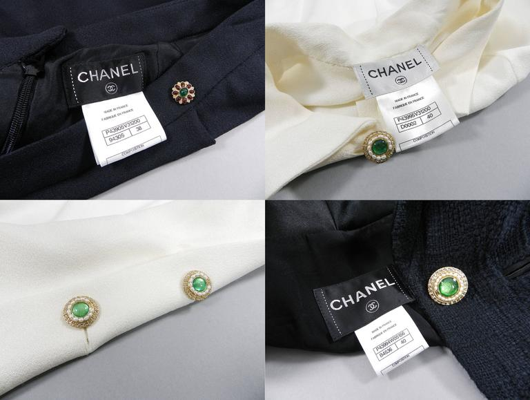 Chanel Black Suit with Silk Blouse and Green Jewelled Buttons 10