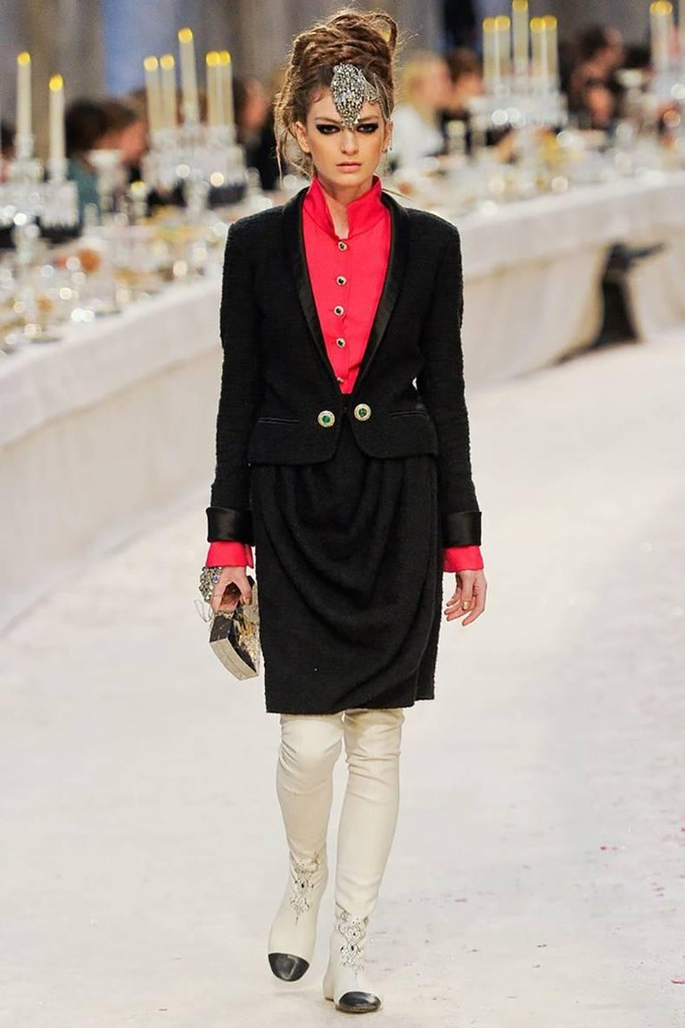 Chanel pre-fall 2012 Bombay Black Suit with Silk Blouse Green Jewelled Buttons 2