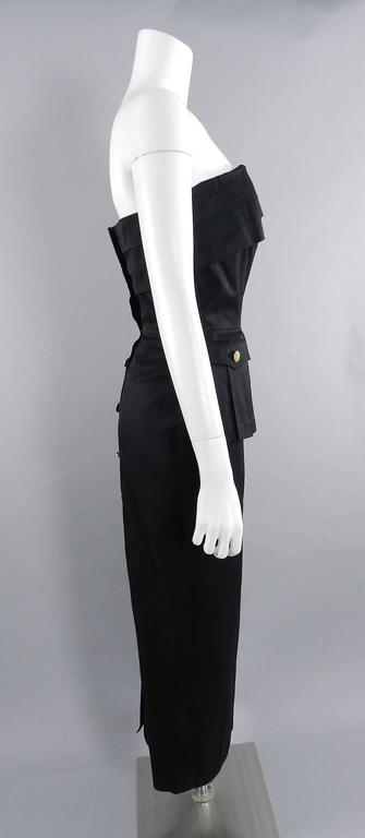 Chanel Vintage 1987 Black Strapless Cotton Dress with Wheat Buttons In Excellent Condition For Sale In Toronto, CA