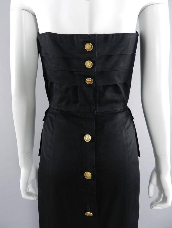Chanel Vintage 1987 Black Strapless Cotton Dress with Wheat Buttons 4