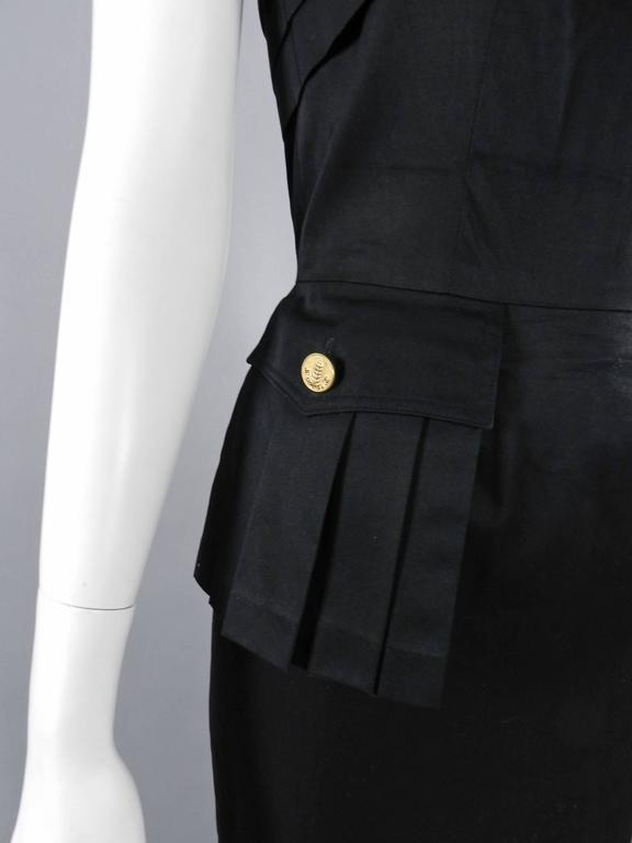 Chanel Vintage 1987 Black Strapless Cotton Dress with Wheat Buttons For Sale 2