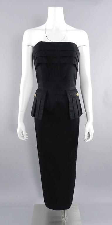 Chanel Vintage 1987 Black Strapless Cotton Dress with Wheat Buttons For Sale 5