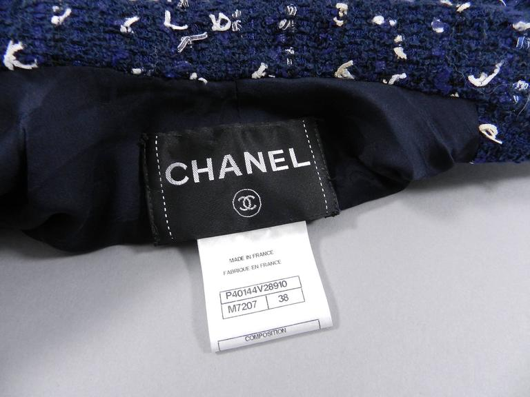 Chanel Navy Indigo Jacket with Crochet Knit Trim 3
