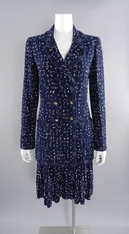 Chanel Navy Indigo Jacket with Crochet Knit Trim 8