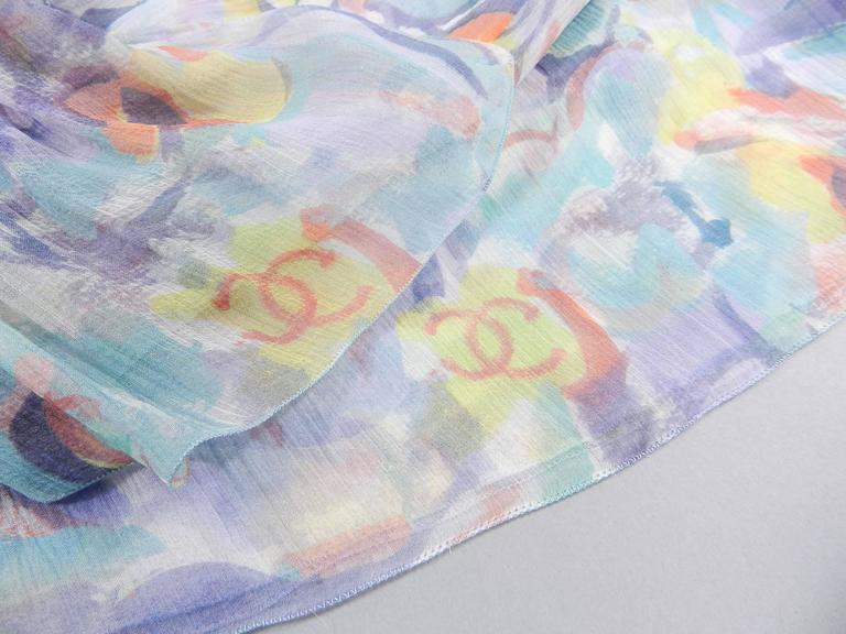 Chanel 2011 Resort Sheer CC logo Pastel Chiffon Dress 4