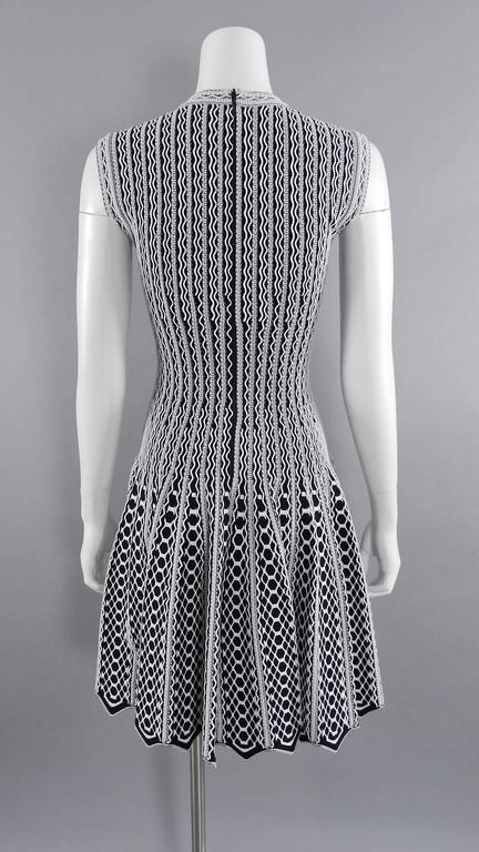 Alaia White And Black Fit And Flare Stretch Knit Dress At