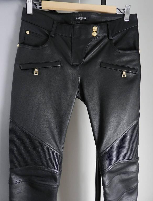 Balmain Black Leather Biker Motorcycle Skinny Jeans / Pants In Excellent Condition For Sale In Toronto, CA
