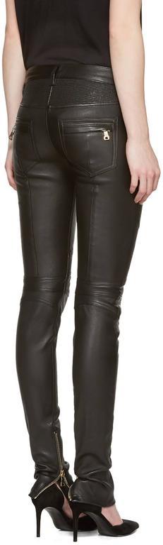 Balmain Black Leather Biker Motorcycle Skinny Jeans / Pants For Sale 1