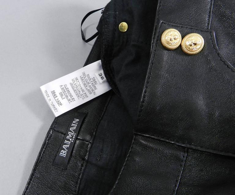 Balmain Black Leather Biker Motorcycle Skinny Jeans / Pants For Sale 2