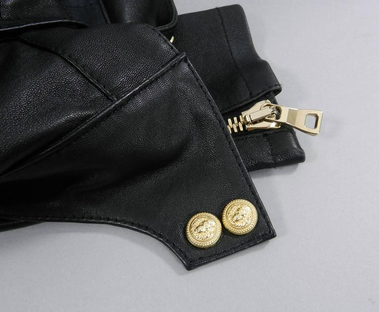 Balmain Black Leather Biker Motorcycle Skinny Jeans / Pants For Sale 3
