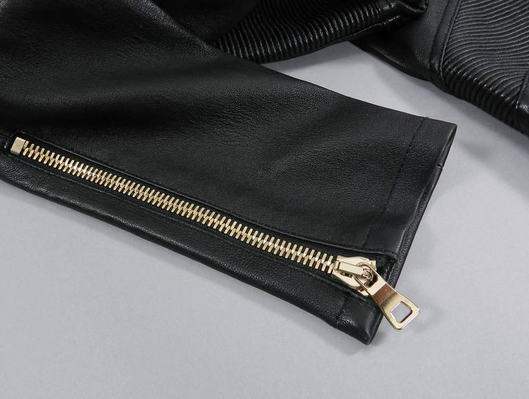 Balmain Black Leather Biker Motorcycle Skinny Jeans / Pants For Sale 4