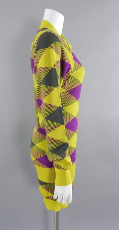 Brown Issey Miyake 1980s Yellow and Purple Sweater and Skirt Set For Sale