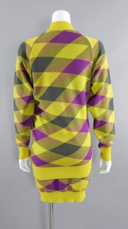 Issey Miyake 1980s Yellow and Purple Sweater and Skirt Set In Excellent Condition For Sale In Toronto, CA