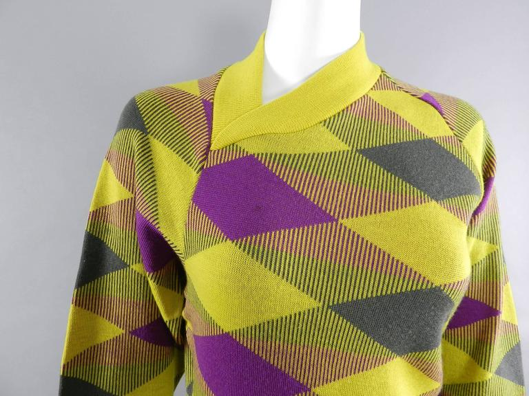 Women's Issey Miyake 1980s Yellow and Purple Sweater and Skirt Set For Sale