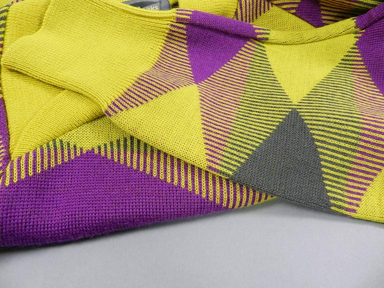 Issey Miyake 1980s Yellow and Purple Sweater and Skirt Set For Sale 1