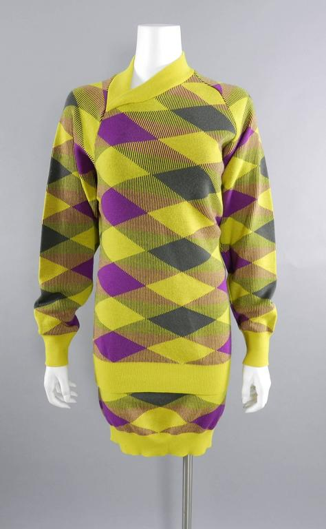 Issey Miyake 1980s Yellow and Purple Sweater and Skirt Set For Sale 3