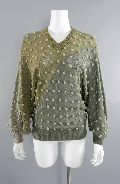 Issey Miyake 1980s Taupe Batwing Sleeve Sweater For Sale 4